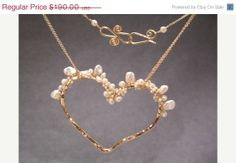 SALE Necklace 270 Hammered heart with keshi & by CalicoJunoJewelry