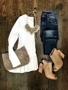 Style for over 35 - White ruffle blouse, jeans, booties, leopard clutch, & statement necklace
