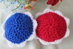 Hey, I found this really awesome Etsy listing at https://www.etsy.com/listing/205049037/2-red-white-and-blue-set-of-scour-flower