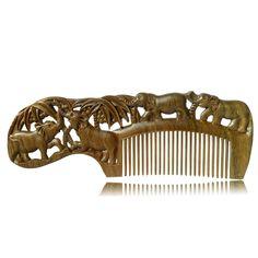 1 PC Handmade Peach Wooden comb natural head massage hair brush hair care 17.5cm*6cm*1cm CB011 animal style thin tooth