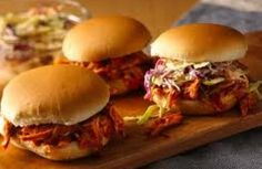 BBQ Pulled Chicken Sandwiches Made Easy used left over rotisserie chicken. super easy