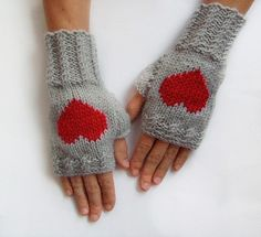 Red Heart Fingerless Mittens by KnitsbyVara