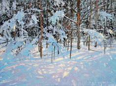 Landscape Paintings by David Lidbetter Impressionist Landscape, Watercolor Landscape, Abstract Landscape, Landscape Paintings, Abstract Art, Painting Snow, Winter Painting, Winter Art, Diy Art Projects