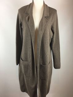 Chicos Size 2 Brown Long Open Sweater Duster Career  | eBay