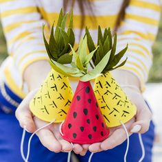 These fruit-inspired party hats are perfect for summer parties and BBQs.
