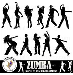ZUMBA Silhouettes 11 png digital graphics by IrrationalArts, $4.95