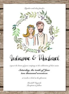 Wedding Invitation Printable Template Custom by HappyLittleGrape