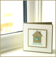 Quick and easy new home card using Stampin' Up! - A quick and easy new home card using Stampin' Up!'s Little Elephant bundle. New Home Cards, House Of Cards, Homemade Birthday Cards, Homemade Cards, Paper Cards, Diy Cards, Housewarming Card, Up House, Diy Crafts For Gifts