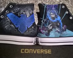 Nightwing  nightwing shoes hand painted converse shoes DC