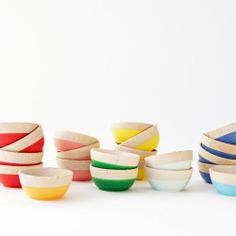 Wind Willow Home::: One Mini Bowl in Multiple Colors | eBay from Martha Stewart American Made, $10.00.                   these come in several colors and are made of maple wood and rubber dipped bottoms. Love them. Lorr