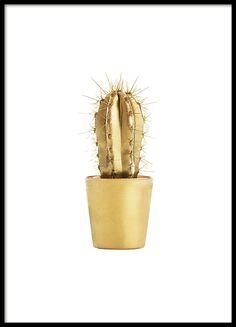 Poster met foto van een gouden kaktus., Een motief dat een muur opvrolijkt. Kan in elke kamer en is erg schattig naar echte kaktussen. www.desenio.nl