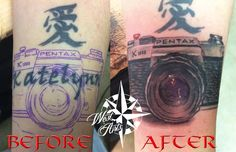 Cover up tattoo, Tattoo Cover, Camera Tattoo, Name Cover-up Tattoo