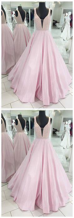 Pink Prom Dresses, Long Prom Dresses, 2018 Prom Dresses Sexy, A-line Prom Dresses V-neck, Satin Prom Dresses Beading, Modest Prom Dresses Backless