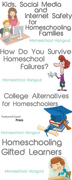 iHomeschool Hangouts for the month of March 2014. social media & internet safety, surviving homeschool failures, college alternatives for homeschool graduates, homeschooling gifted learners.  Watch live on Thursdays, 1 PM CT/ 2 PM ET. Or watch later via YouTube or listen via podcast.
