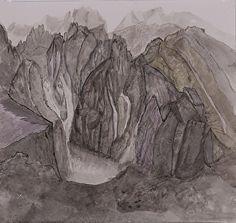 "Glacier Range by Kit Hedman Watercolor ~ 11.5"" x 12"""
