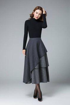 dark gray skirt layered skirt high waisted skirt womens