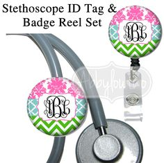 Chevron Damask Set Stethoscope ID Tag Bling Badge Reel #idtag #badgereel #idholder #abbyloutwo #name #badgeholder #stethoscopeidtag #stethoscope #initials #monogrammed #personalized