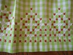 Vintage Handmade Green Gingham Apron with Chicken Scratch