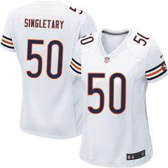 Nike Elite Mike Singletary White Women's Jersey - Chicago Bears #50 NFL Road