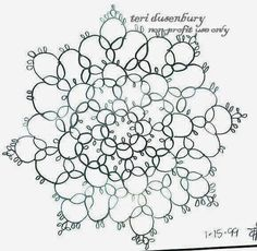 TATtle TALES Tatting Patterns: Pattern of the Month Club Newsletter October 1994 Rosette Schematics
