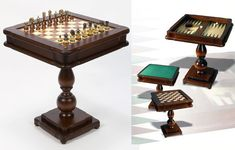 Italian 3-in-1 Chess Game Table - Backgammon Checkers