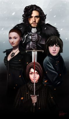 """the north remembers"" by han jihye.Jon Snow, lady sansa, bran and arya STARK. Eddard Stark, Ned Stark, Bran Stark, Arte Game Of Thrones, Game Of Thrones Fans, The North Remembers, Cersei Lannister, Jaime Lannister, Daenerys Targaryen"