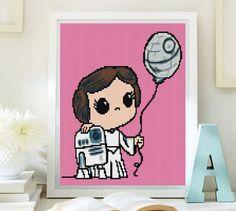 Princess Leia cross stitch modern pattern. Star Wars cross stitch pattern. Download PDF. Ptrón princela Leia punto de cruz, descarga PDF de Lenyboop en Etsy