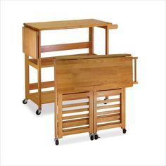 Winsome Foldable Butcher Block Kitchen Cart in Light Oak - 34137