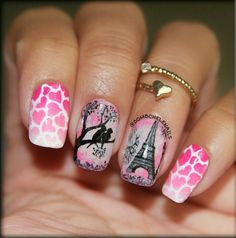Love birds, Paris / Eiffel Tower, hearts, nail art
