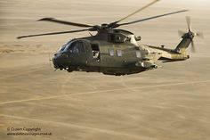 A Royal Air Force Merlin helicopter soars over Jordan during Exercise Desert Vortex.