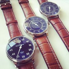 MeisterSinger watches. Salthora Meta, Perigraph and Pangaea Day Date. Blue dials.