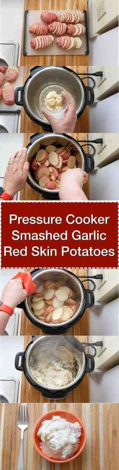 A rustic potato side dish, quick and easy on a weeknight thanks to the pressure cooker. Digital Pressure Cooker, Instant Pot Pressure Cooker, Pressure Cooker Recipes, Pressure Cooking, Slow Cooker, Potato Sides, Potato Side Dishes, Instant Crock Pot, Garlic Smashed Potatoes