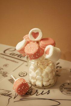 assorted chocolate marshmallow pops Chocolate Marshmallows, Marshmallow Pops, Jar, Food, Decor, Decoration, Eten, Jars, Decorating
