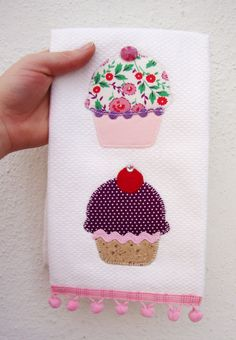 Embroidered Cupcake Tea Towel by SewManyPouches on Etsy