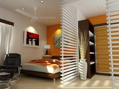 Warm Orange And White Bedroom Interior Design For Small Spaces With Natural Brown Wood Bed Frame That Have Stainless Steel Legs Complete With The Brown Bedding Also Contemporary White Ceiling Fan Also Solid White Wood Room Divider Complete With The Shelving Space. .