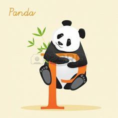 Animal alphabet letter P with panda illustration Stock Photo - 18454937
