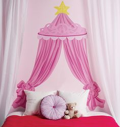 """Now you can give an ordinary room a """"designer's touch"""" in minutes with this giant wall sticker of a pink princess CANOPY HEADBOARD. She'll always have sweet dreams with this stylized headboard wall decal, fit for a princess! Princess Headboard, Princess Canopy, Princess Room, Pink Princess, Princess Star, Girl Room, Girls Bedroom, Bedroom Decor, Girls Canopy"""