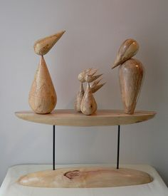 """""""Family"""", by Jan Panek. Birds: spalted tiger maple; stand: box elder."""