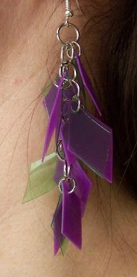 These earrings are made from plastic milk jug i like the - Plastic bottle jewelry making ...