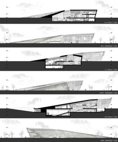 Çanakkale War Research Centre Nationale architecturale projectwedstrijd - Architecture Concept Drawings, Architecture Panel, Cultural Architecture, Architecture Graphics, Architecture Portfolio, Architecture Details, Landscape Architecture, Landscape Design, Section Drawing Architecture