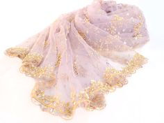 purple shawl lavender gold beaded evening wrap by Miriboheme