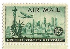 TEN New York City Skyline Airmail Stamp Pack Of 10 Vintage Unused Postage Stamps Big Apple Skyscrapers Broadway Statue Liberty