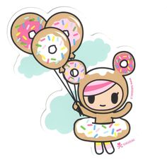 New stickers from tokidoki, featuring your favorite designs by Simone Legno! High quality vinyl sticker perfect for, well, sticking on stuff! Kawaii Doodles, Kawaii Chibi, Kawaii Cute, Art Drawings For Kids, Easy Drawings, Cute Wallpaper Backgrounds, Cute Wallpapers, Clip Art, New Sticker