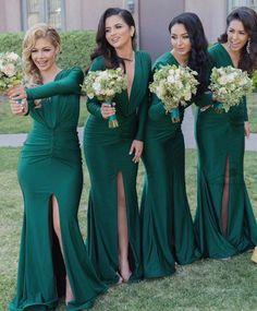 Gorgeous Green Bridesmaid Dresses, Long Sleeves Bridesmaid Dresses, Long Side Slit Bridesmaid Dresses, VB0033 #bridesmaids #bridesmaiddress #bridesmaidsdresses