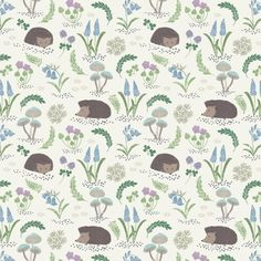Hedgehogs and Bluebells on White Bluebell Woods Cotton Fabric
