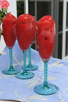 Strawberry Champagne Slushies.  1 basket of fresh strawberries + bottle of champagne = yummy goodness.  The recipe also calls for honey but I will omit--strawberries are plenty sweet.