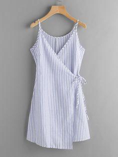 Vestido cruzado de rayas verticales -Spanish SheIn(Sheinside)