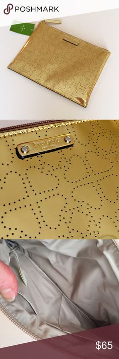"""4.99 Shipping NOW NWT Kate ♠️ Spade LG Gold Pouch NWT Kate Spade Metro Spade Large Gold Pouch. Measures 10"""" by 7"""". Perforated Metro Spade design 14-karat light gold plated hardware Nylon lining and interior slip pocket Solid nylon lining with slip pocket.  Matching Clutch/Cosmetic Bag available in my listing! Firm Price unless Bundled kate spade Bags Cosmetic Bags & Cases"""