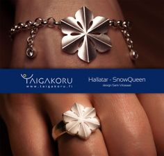 Rannekoru, Hallatar, hopeaa. Snowqueen, wrist jewelry. Design Sami Viitasaari. Snowflake Jewelry, Jewelry Accessories, Jewelry Design, Finland, Bracelets, Earrings, Silver, Ear Rings, Jewelry Findings
