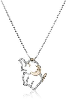 16. Sterling Silver, 14k Rose Gold, and Diamond Elephant Pendant Necklace